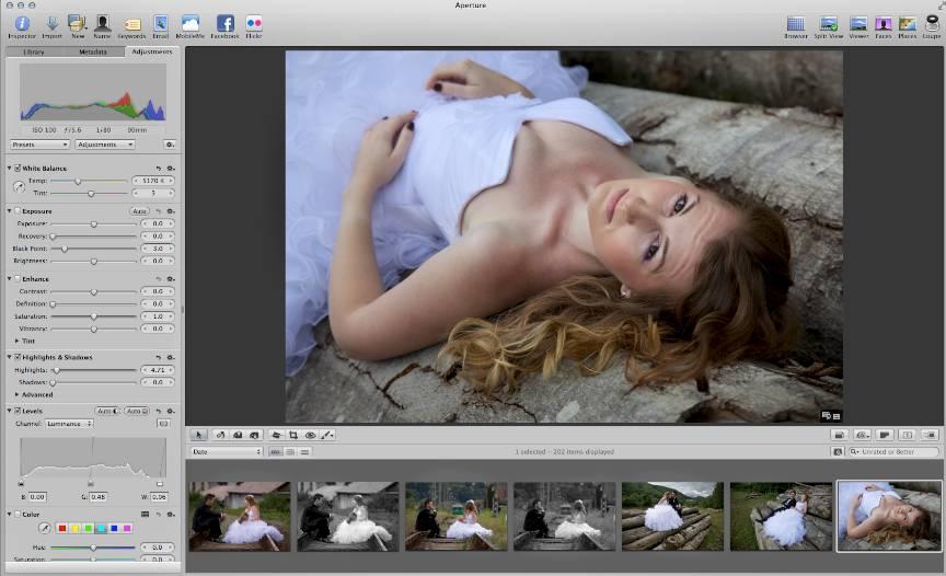 Editarea fotografiilor in Aperture pe MacBook Pro. Lightroom este o alternativa la Aperture.