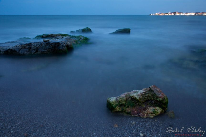 Long time exposure landscape. Marea Neagra in blue-hour.