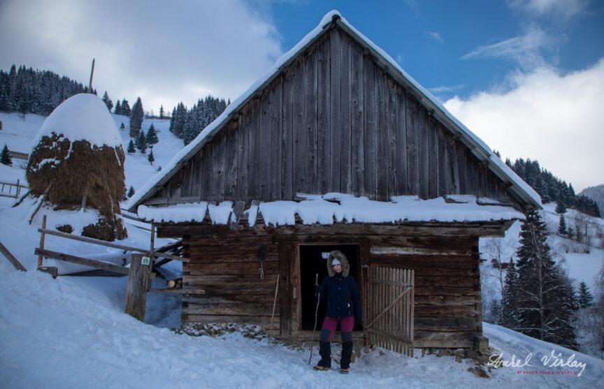 Fotografie pitoreasca de iarna din Moeciu de Sus.